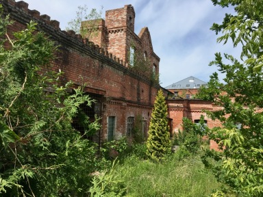 Barracks site, derelict buildings